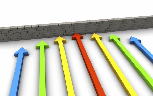 arrows approaching a wall